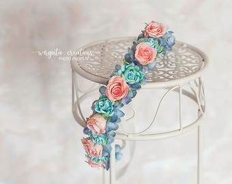 Flower tie back/headpiece from 6 months old (can fit an adult aswell). Mint, blue, pink. Photo props. Ready to send