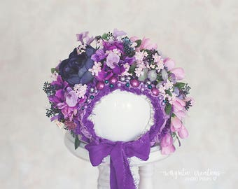 Flower bonnet for 12-24 months old baby.Purple, pink. Only one available.Photo prop. Ready to send