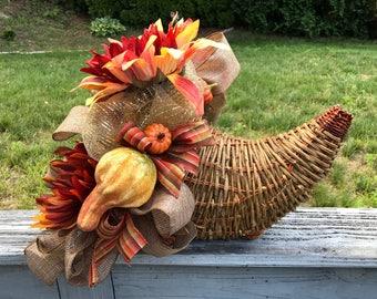 Cornucopia, Fall Decor, Floral Arrangement, Table Decoration, Autumn Harvest Tabletop, DecoMesh and Flowers