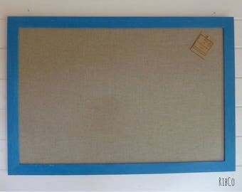 Extra Large Pinboard / Noticeboard with rustic linen backing and Aged Giverny Blue chalk frame