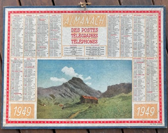 Almanac french Telegraph and telephone, old calendar 1949 posts, complete (see photos)
