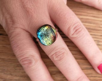 Rainbow colours dichroic glass jewellery ring, fused glass, ring, adjustable, black fused glass silver plated adjustable ring
