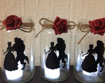 beauty and the beast lantern jar