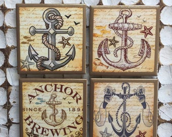 COASTERS! Anchor coasters woth gold trim