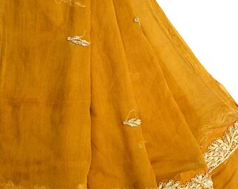 Indian Vintage Dupatta Traditional Hand Beaded Long Dupatta Scarf Sarong Embroidered Women Wrap Drape Mustard Yellow Veil Stole LD2299