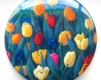 "Purse or Pocket Mirror, 3.5"", Beautiful, Colorful Tulips, From Original Painting, Handy Mirror in Organza Bag, Small Gift Idea"