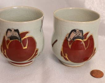 RARE Daruma Pair of Tea Cups Made in Japan Bodhidharma Signed on bottom