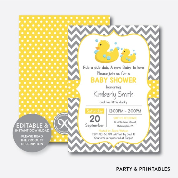 Instant download editable rubber duck baby shower invitation duck il570xn stopboris Image collections