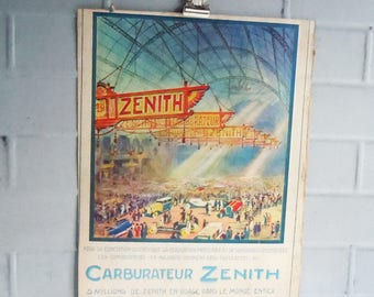 L'Illustration Magazine  / 1937 Publication in French / Ad for Zenith Car Exhibition / Rare Automobile Art Poster