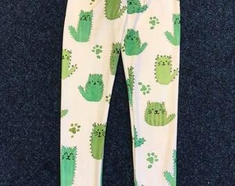 Handmade Leggings Cactus Cat Kids