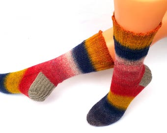 Blue Red Yellow Beige Hand Knitted Socks Blue Red Yellow Striped Women's Socks Colorful Blue Red Yellow Girl's Socks Warm Socks Winter Socks