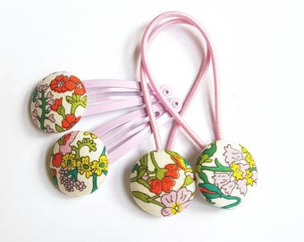Liberty of London hair ties and snap clips set 23mn fabric covered buttons, soft mauve clips.