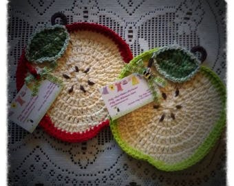 Delicious Apple Washcloth/Dishcloth/Cotton Washcloth/Dishcloths/Crocheted with 100% Cotton