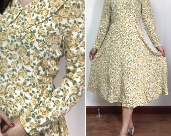 30% Off Sale / Vintage Japanese Floral Dress / Party Dress / Peter Pan Collar Dress / Made in Japan / Size Small