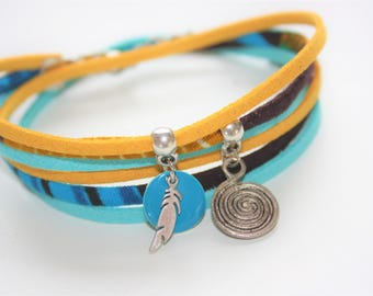 """Bracelet lucky charm """"Journey of a feather"""" yellow & turquoise"""