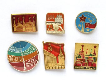 Moscow, Badge, Pick from Set, Landmark, Monument, Vintage collectible badge, Soviet Vintage Pin, Russian city, Soviet Union, USSR, 1980s