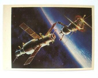 Space, Rendezvous of Soyuz-27, Unused Postcard, Painting, Sokolov, Illustration, Unsigned, Rare Soviet Vintage Postcard, USSR, 1980, 1980s