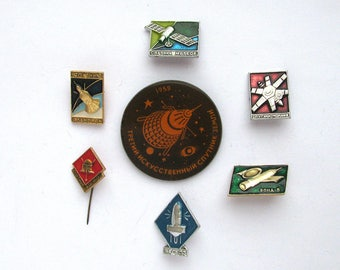 Set of 7 Soviet Space Badges, Satellite, Vintage metal collectible badge, Spacecraft, Soviet Pin, Vintage Badge, Made in USSR, 1970s