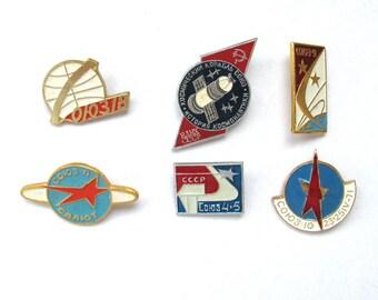 Space, Vintage metal collectible badge, Pick from set, Salyut, Soyuz, Soviet Vintage Pin, Vintage Badge, Made in USSR