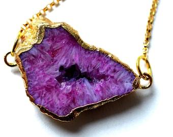 Purple Druzy Necklace - Gold Druzy Necklace - Pink Druzy Necklace - Crystal Necklace - Geode Necklace - Drusy Pendant - Gemstone Necklace