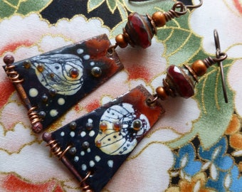 RESERVED FOR SANTAFEANNE. Midnight At The Oasis, Enamelled Copper Earrings, Copper Charms, Rustic Boho Jewelry, 2Moiselle, Northernblooms