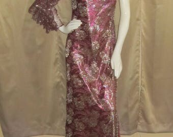 Women's 60's Couture Tracy Mills Vintage Runway Sparkle One Arm Dress Lace Wing Arm Size 8