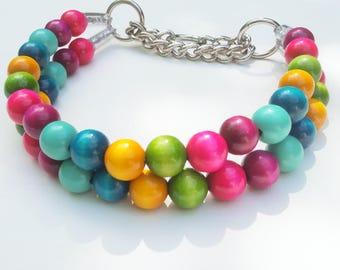 Roo's Unicorn double Strand Wood Bead Dog Collars, Buckle Collars, Martingale Collars, Dog Beads UNBREAKABLE GUARANTEE!