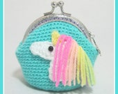 Crochet crocheted unicorn purse unicorn coin purse green unicorn coin purse green purse crochet unicorn turquoise purse