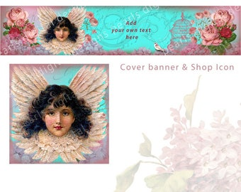 Angel Dusty Rose, Cover banner and Shop Icon, instant download, blank files, angelic vintage theme wings, floral roses, bird cage bird, aqua