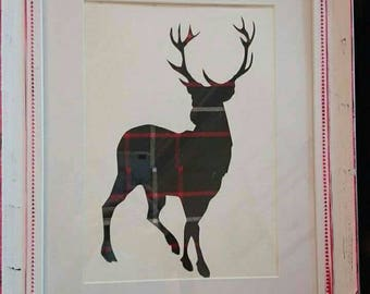 Shabby chic framed tartan stag silhouette rustic