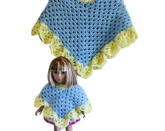 "Blue, yellow ponchos, AG doll poncho, girls poncho, 18"" doll poncho, AG doll clothes, 18"" doll clothes, AG poncho, child poncho, 18"" poncho"
