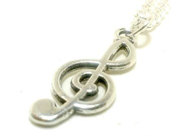 Silver Chain Treble Clef Pendant Charm Necklace Jewelry Gifts for Musician, Musical, Music, Pianist, Guitarist, Violinist, Recital Rehearsal