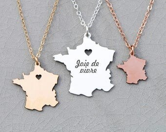 France Necklace Europe Jewelry France Paris Necklace • Country Charm Paris Jewelry•Personalized Charm France Pendant Engraved