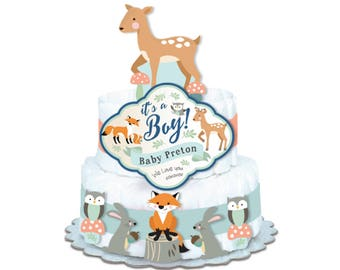 Tepee Woodland Shower Decorations, diaper cake decorations, bunting, dangle banner - DIY Shower decorations, fox, deer, squirrel, owl