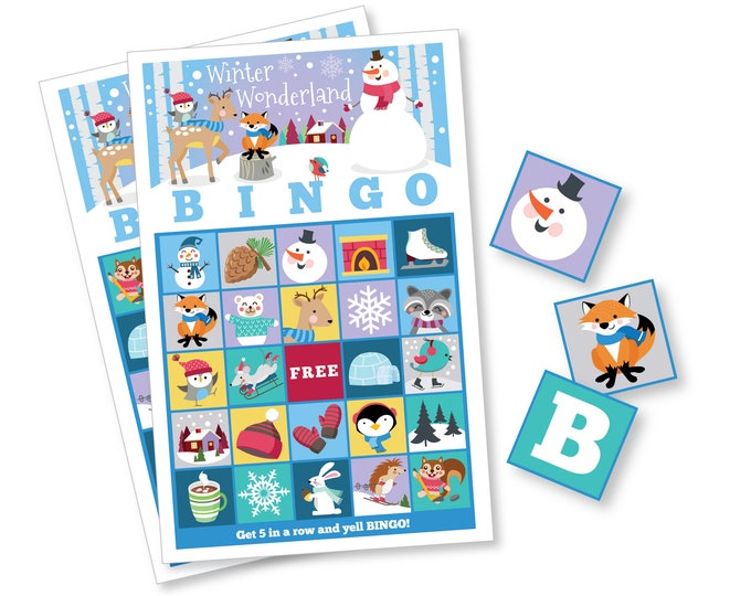 Winter BINGO Game - Winter Wonderland Game, Kid's Printable Bingo Game - Bingo Game for Kids - Christmas Bingo - Instant Download