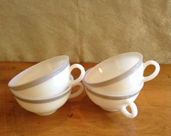 Vintage Pyrex. Set of FOUR TEACUPS White with GRAY Stripe. Made in Canada. Dinnerware Pieces. Wonderful Condition.