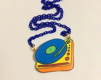 80's Vintage Retro Suitcase Record Player, Vinyl Record Player, Funky, Collar Statement Necklace, Rainbow Ringer, Graphic, Art necklace
