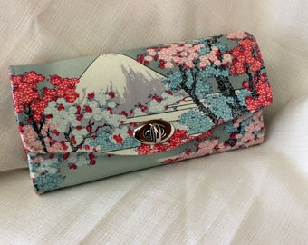Mt Fuji with Cherry Blossom Clutch Wallet