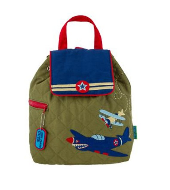 Toddler Stephen Joseph Quilted Airplane Retro Backpack, Children's Aiplane Backpack, Kids Backpack, Back to School, FREE PERSONALIZATION