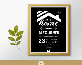 My Our First Home Personalised Digital Print / Black & White / Home Decor, Housewarming Gift, Wall Art / by Infinite Eleven Designs