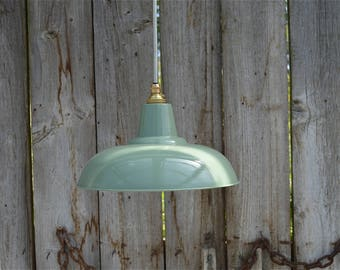 Retro style French green grey light pendant hanging lightshade lamp shade ceiling light FG1G3