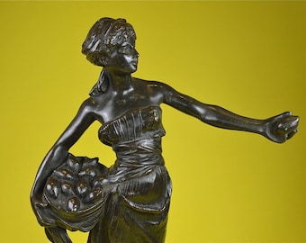 Beautiful original antique bronze figure of The lemon seller signed by sculptor Marcel Debut circa.1900