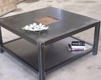 table basse bois vieilli sur mesure meuble industriel. Black Bedroom Furniture Sets. Home Design Ideas