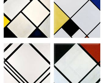 Mondrian Lozenge Composistion Coasters Recessed Woven Textured  Turned Edges Picture Perfect  Polyester Laminated, Set of 4