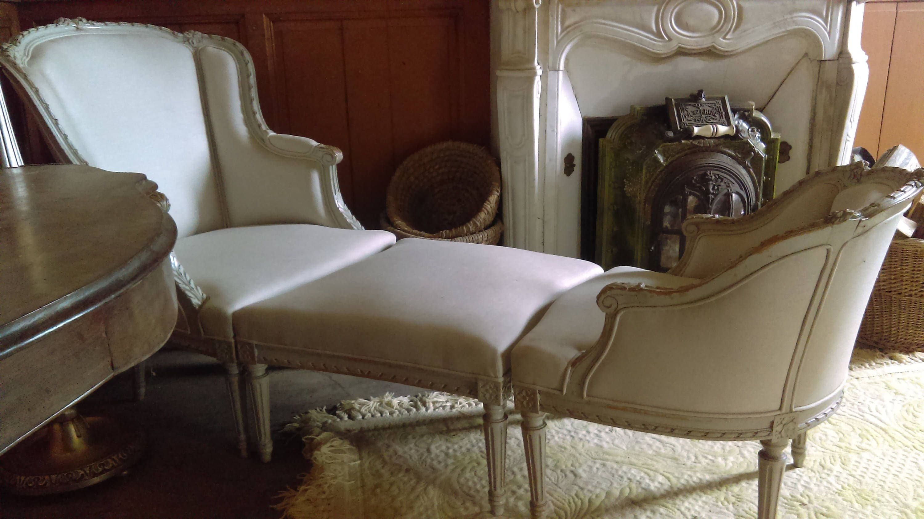 Antique french louis xvi style duchesse brisee chaise pair of for Chaise style louis xvi occasion