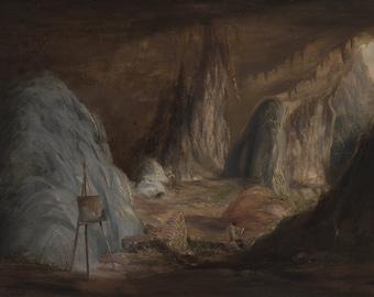 Conrad Martens: Stalagmites, Burragalong Cavern. Fine Art Print/Poster (004445)
