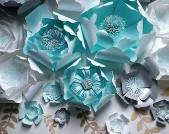 Peonies Paper Flowers for Baby Shower,Backdrops, decoration