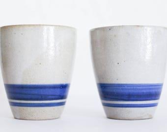 2x Vintage Steingut Becher Set Saftbecher Ton Keramik schwedisch Maritim Bar blau grau 60er 60s GDR DDR VEB