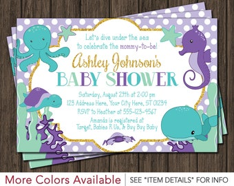 Under The Sea Baby Shower Invitation | Purple, Lavender, Turquoise, Mint  Green,