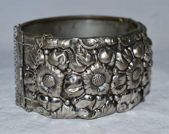 Vintage Vargas Bracelet - 1950s Cuff Bracelet, Repousse, Silver Tone with Sunflowers